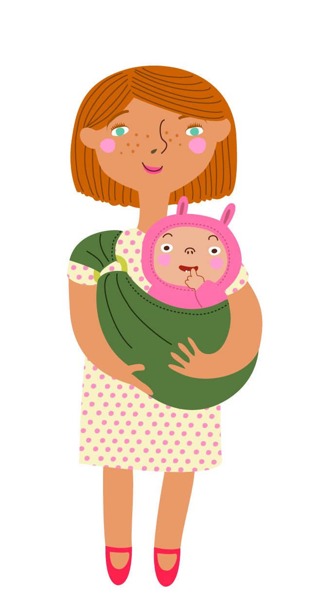 Cartoon mother and baby